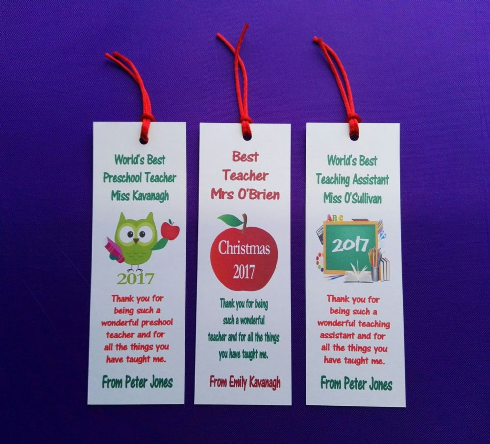 personalised teacher school related bookmarks